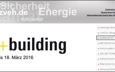 """mediacraft unterstützt das """"E-Haus"""" auf der Light+Building 2016 in Frankfurt"""