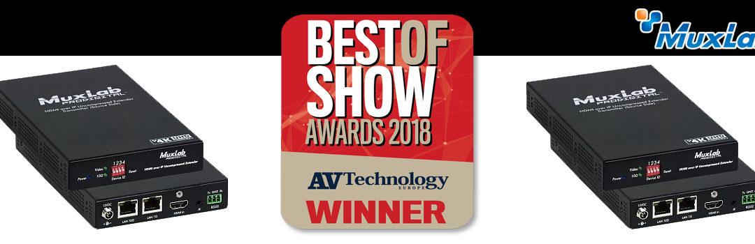 "ISE2018 – MuxLab gewinnt mit dem HDMI over IP Uncompressed Extender, 4K/60 den ""Best of Show"" Award in der Kategorie ""A/V Technologie"""